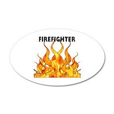 Firefighting Flames 38.5 x 24.5 Oval Wall Peel
