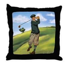 Vintage golf golfer style Throw Pillow
