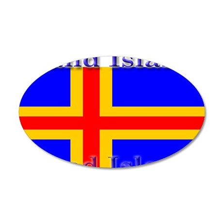 Aland Islands Flag 22x14 Oval Wall Peel