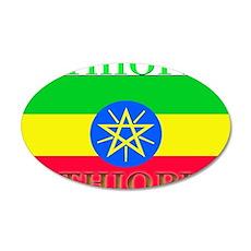 Ethiopia Ethiopian Flag 22x14 Oval Wall Peel