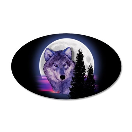 Moon Wolf 20x12 Oval Wall Decal