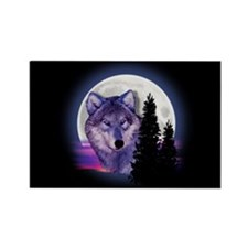 Moon Wolf Rectangle Magnet (100 pack)