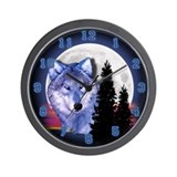 Moon Wolf Wall Clock