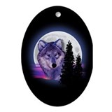 Moon Wolf Ornament (Oval)