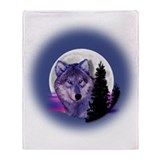 Moon Wolf Throw Blanket