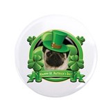 "Happy St. Patrick's Day Pug 3.5"" Button"