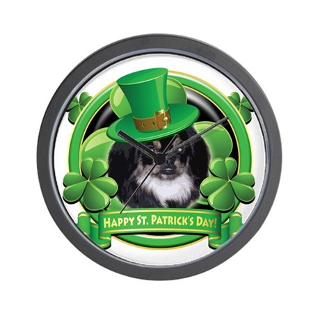 Happy St. Patrick's Day Pekingnese Wall Clock