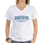 I Survived Snowpocalypse 2011 Women's V-Neck T-Shirt