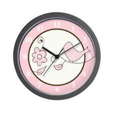 Blossom Trendy Pink Bird Wall Clock