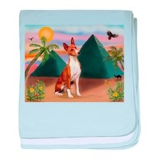 Basenji at the Pyramids baby blanket