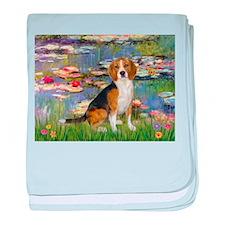 Beagle in Monet's Lilies baby blanket