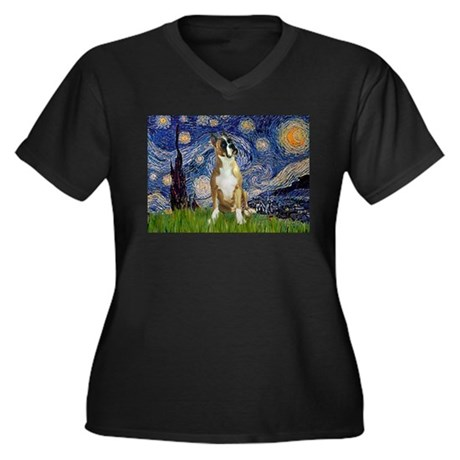 Starry Night & Boxer Women's Plus Size V-Neck Dark
