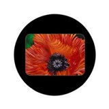 "Red Oriental Poppy 3.5"" Button"