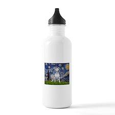 Starry Night/Bull Terrier Water Bottle