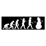 Evolution of Snowman Bumper Sticker