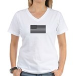 USA American Flag Gray Camo Women's V-Neck T-Shirt