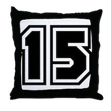 Varsity Uniform Number 15 Throw Pillow