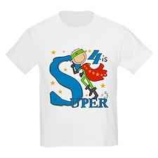 Super Boy 4th Birthday T-Shirt