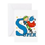 Super Boy 6th Birthday Greeting Card