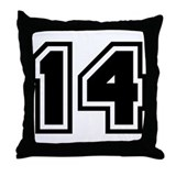 Varsity Uniform Number 14 Throw Pillow