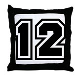 Varsity Uniform Number 12 Throw Pillow