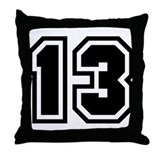 Varsity Uniform Number 13 Throw Pillow