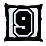 Varsity Uniform Number 9 Throw Pillow