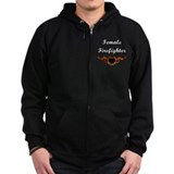 Female Firefighter Flames Zipped Hoodie