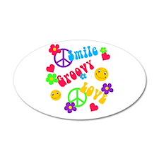 Smile Groovy Love Peace 22x14 Oval Wall Peel