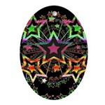 Psychedelic Stars Fractal Oval Ornament