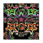 Psychedelic Stars Fractal Tile Coaster