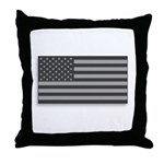 USA American Flag Gray Camo Throw Pillow