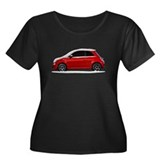 Snow Covered Fiat 500 Women's Plus Size Scoop Neck