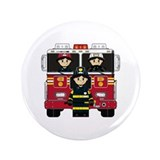 "Firefighters and Fire Engine 3.5"" Button"