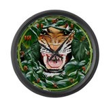 Tiger thru the leaves Large Wall Clock
