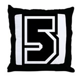 Varsity Uniform Number 5 Throw Pillow