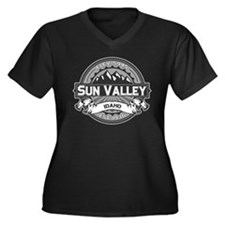 Sun Valley Grey Women's Plus Size V-Neck Dark T-Sh