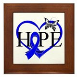 Colon Cancer Hope Heart Framed Tile
