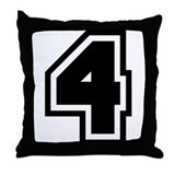 Varsity Uniform Number 4 Throw Pillow
