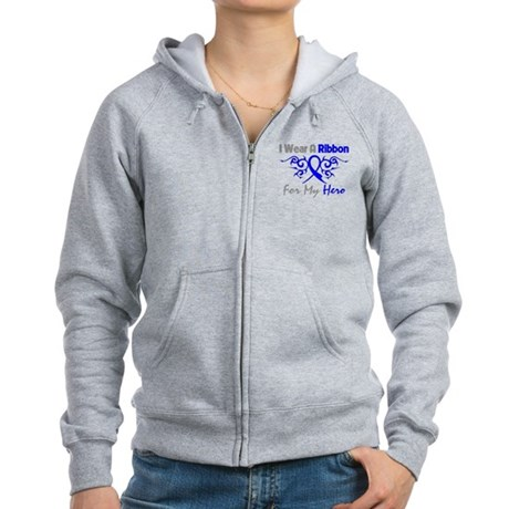 Colon Cancer Hero Tribal Women's Zip Hoodie