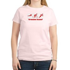 """Threesome Anyone?"" Women's Pink T-Shirt"