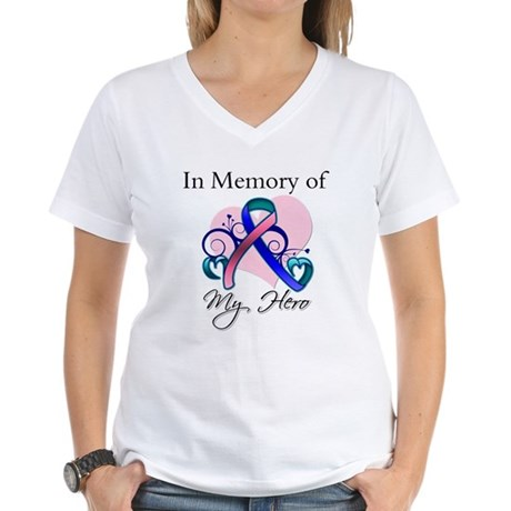 In Memory Thyroid Cancer Women's V-Neck T-Shirt