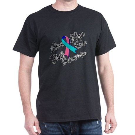 Thyroid Cancer Love Hope Dark T-Shirt