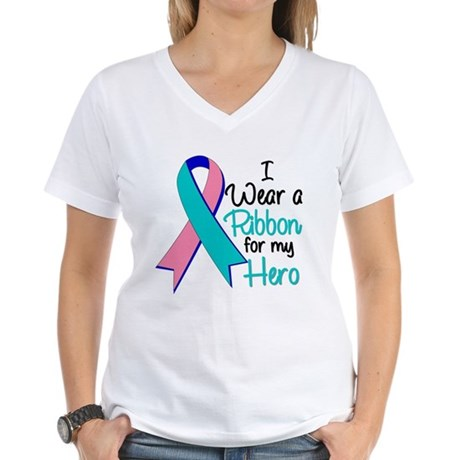 I Wear Ribbon Thyroid Cancer Women's V-Neck T-Shir
