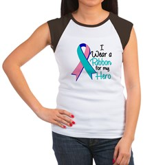 I Wear Ribbon Thyroid Cancer Women's Cap Sleeve T-