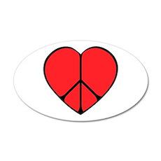 Peace Sign Heart 38.5 x 24.5 Oval Wall Peel