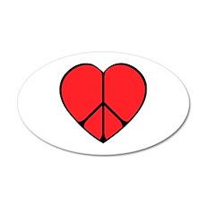 Peace Sign Heart 22x14 Oval Wall Peel