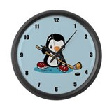 Popo Plays Ice Hockey Large Wall Clock