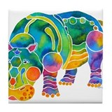 Best HIPPO in Many Colors Tile Coaster