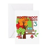 Hooty Hoot 3rd Birthday Greeting Card